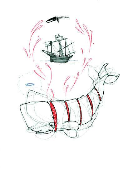 How - Natasha Muhl #whale #illustration #ship #mobydick