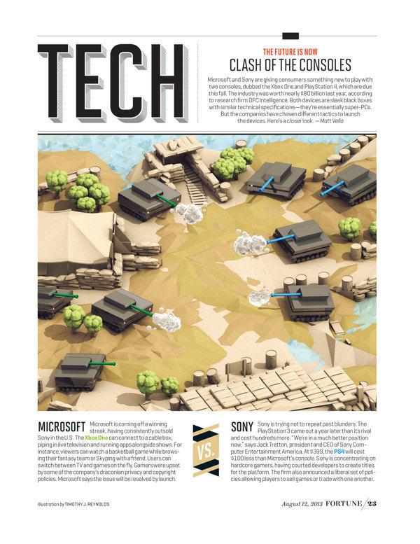 """Fortune Magazine """"Next-Gen Console War"""" [August 2013] #illustration #editorial"""