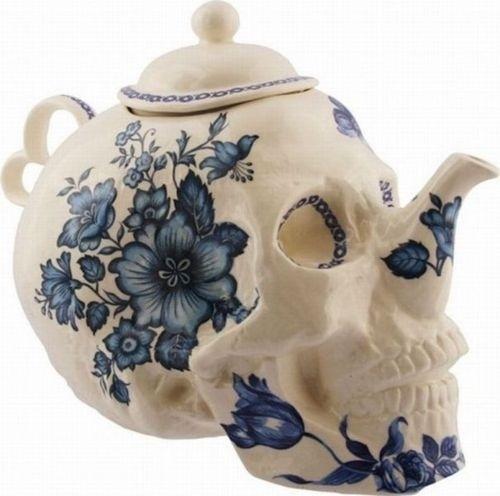 Instant Joy #white #painted #design #pot #tea #art #blue #skull