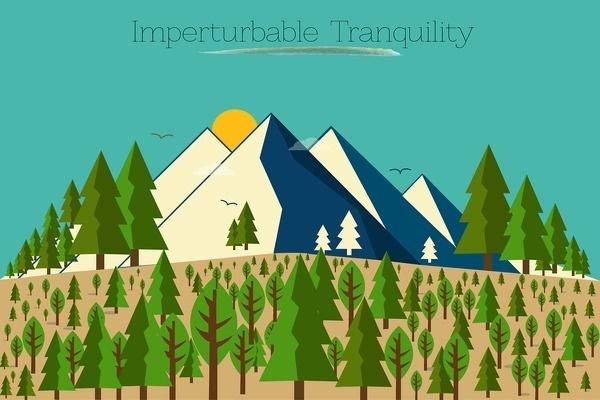 Imperturbable Tranquility #mountain #vector #landscape #birds #illustration #nature #trees