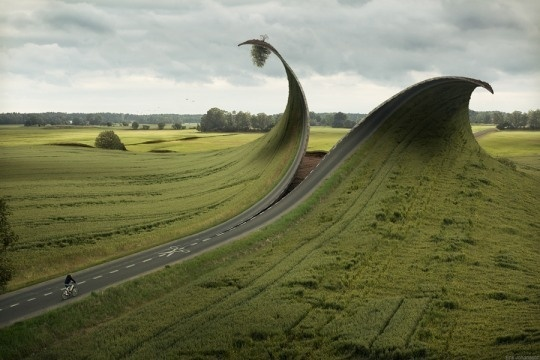 Photo Manipulation by Erik Johansson #motorway #freeway #photo #zip #road #landscape #manipulation
