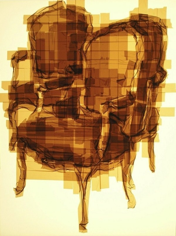 Antique armchair tape painting