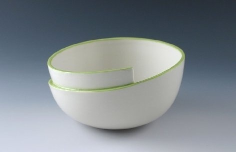 Supermarket - Whirl Bowl with Green Accent from Kim Westad #product #ceramics #bowl