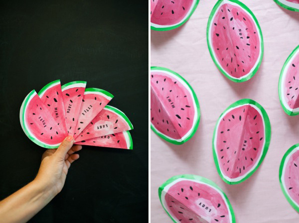 Watermelon Place Cards DIY   Oh Happy Day! #place #food #cards #decoration #party