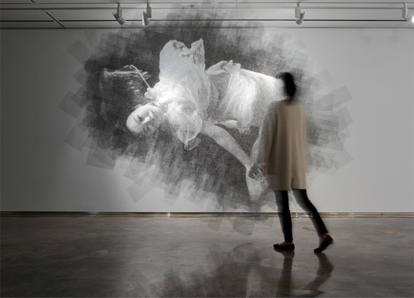 Ephemeral Portraits Cut from Layers of Wire Mesh by Seung Mo Park #layers #sculpture #white #installation #black #mesh #floating #portrait #wire #and