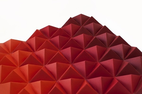 Red Paper Tops, by Cecilia Hedin #mountain #geometry #red #modern #triangle #minimal #gradient #pyramid #paper