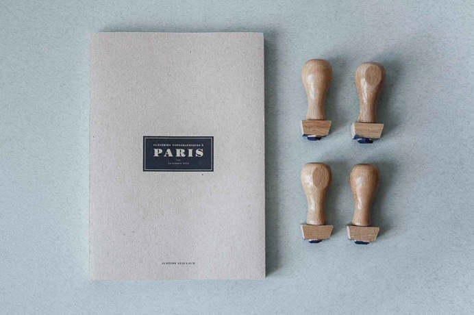 #book #cover #cardboard #stamps #woodstamps #paris #cityguide #guide