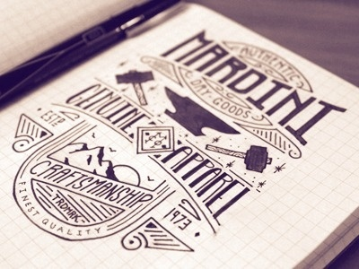 Dribbble - Mardini - Authentic Dry Goods by Jason Carne #lettering #design #shirt #vintage #type #sketch