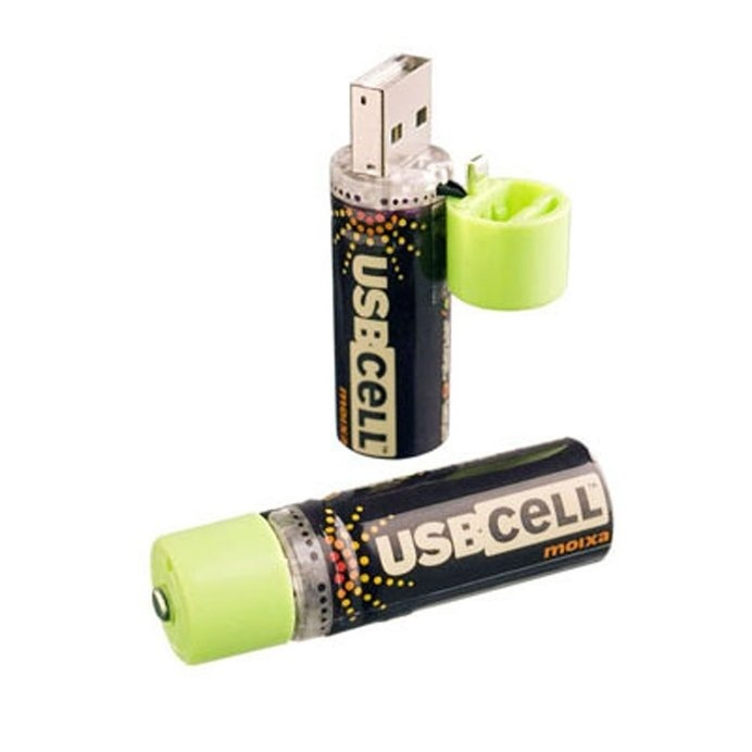 The USB Rechargeable Battery is an AA cell battery recharged by plugging into a USB port
