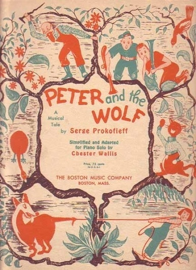 Bamboo Trading: Peter and the Wolf 1946 Sheet Music Book, Vintage Sheet Music #illustration #books #vintage
