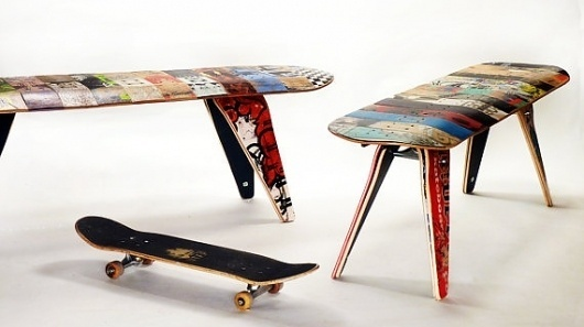 recycled skateboard bench 48 Two seater by deckstool on Etsy #seat #design #bench #product #skateboard