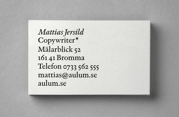 BVD – Mattias Jersild #typography #identity #business card #star #indigo #copywriter