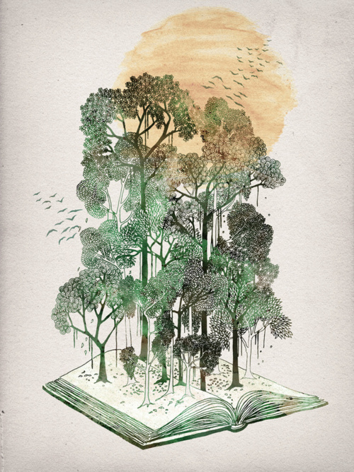 Best Tumblr Watercolor Book Tree Images On Designspiration