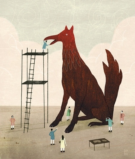 Google Reader (1000+) #illustration #bird #dog