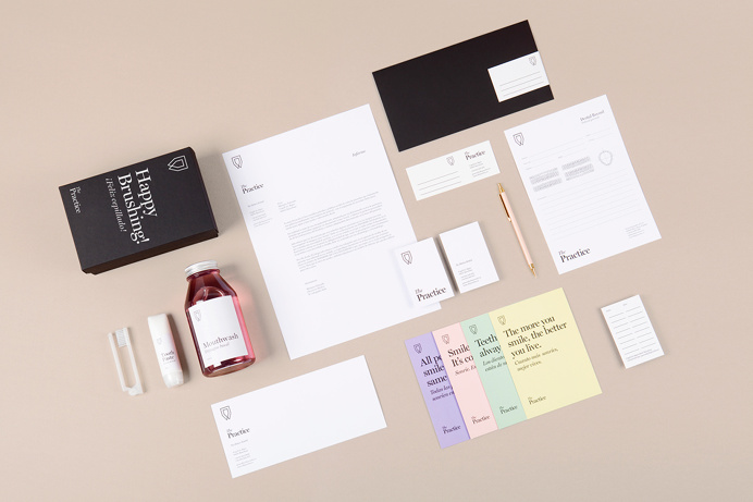 Brand identity for dental clinic in Barcelona, Spain designed by Mayra Monobe. mindsparkle mag color colorful stationery business card logo
