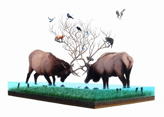 Paintings - Josh Keyes #water #elk #painting #animals #refraction