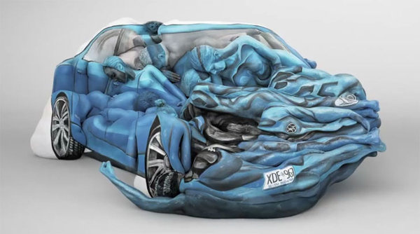 Car Built with Painted Human Bodies #sculpture #body #painting #art #car
