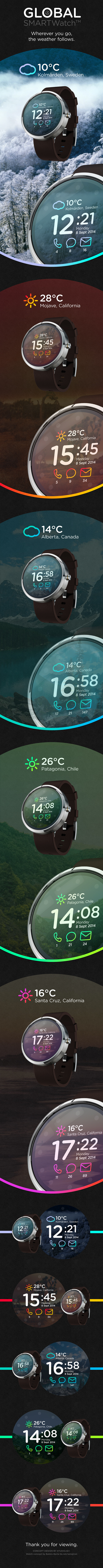 Global SMARTWatch™ // Concept on Behance #ios8 #smartwatch #weather #ux #interface #iwatch #ui #clean #concept #watch #wristwatch #ios