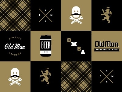 Dribbble - Old Man Strength Academy by Nick Brue #nick #old #strength #blackgold #academy #man #brue