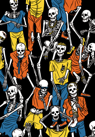 1/2Limited edtition of 30 screen prints, available from Gallery Steinsland Berliner in Stockholm. #illustration #skeleton