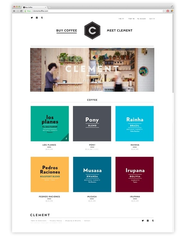 CLEMENT COFFEE #commerce #clean #grid #minimal #webdesign #coffee