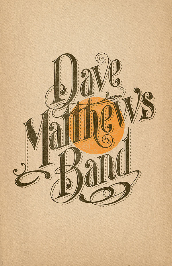 Dave Matthews Band Tour designs #typography #hand lettering #type #t-shirt #design #hand draw
