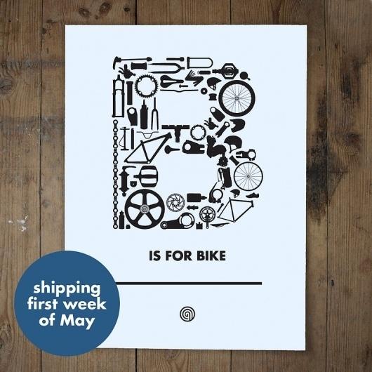 B is for Bike - anthonyoram #screen #print #bike #typography