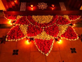 Flower entrance rangoli designs for diwali