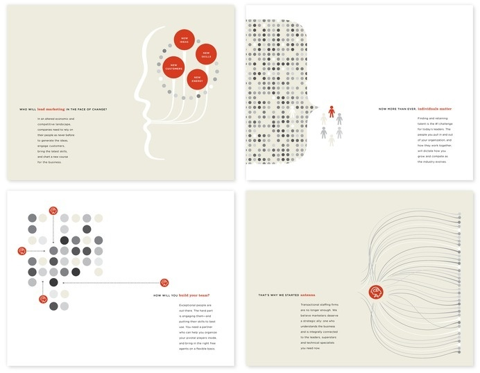 capabilities piece for antenna, by wdw #marketing #print #corporate #illustration #layout #typography