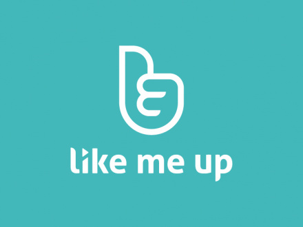 Like Me Up by The Like Minded #identity #branding #logo #social #hand #thumb #constructed