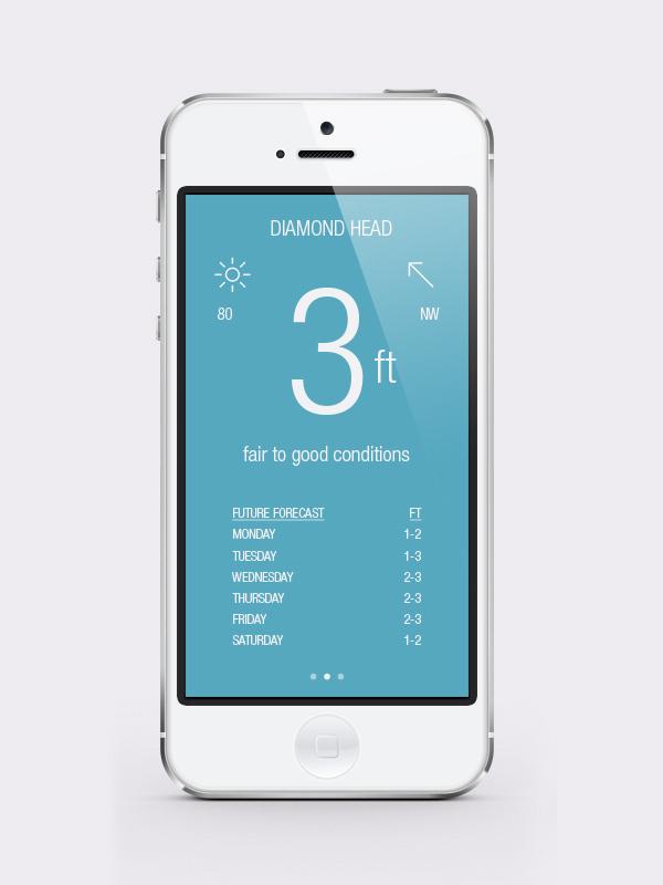 Surf HI iPhone app - Christopher Vinca #interactive #mock #surf #branding #design #iphone #app #mobile #up