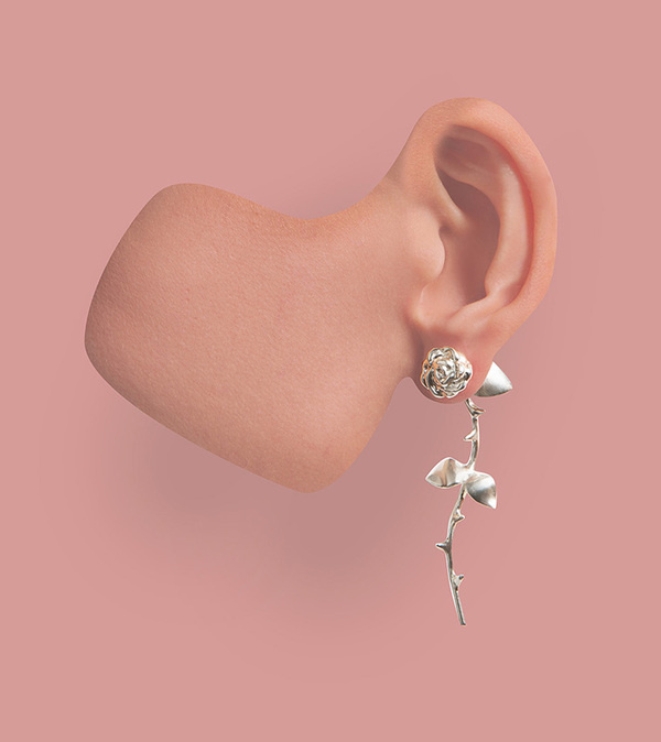 Bulls & Roses jewellery artwork by SMITH/GREY #pink #surrealism #graphic #jewellery #paper #illustration #surreal #hand