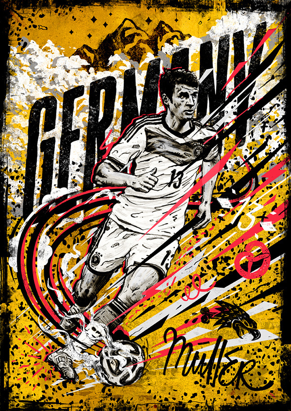 World Cup 14 - Germany/Müller Illustration #lettering #mountain #handdrawn #soccer #speed #eagle #stars #sports #poster #football