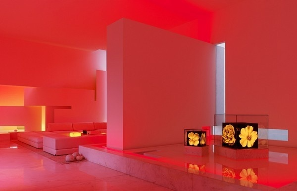 Living room with red lighting #interior #architecture #residence #futuristic