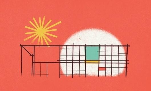 Dribbble - eamesHouseLarger.jpg by Zach Graham #zach #house #color #illustration #graham #eames