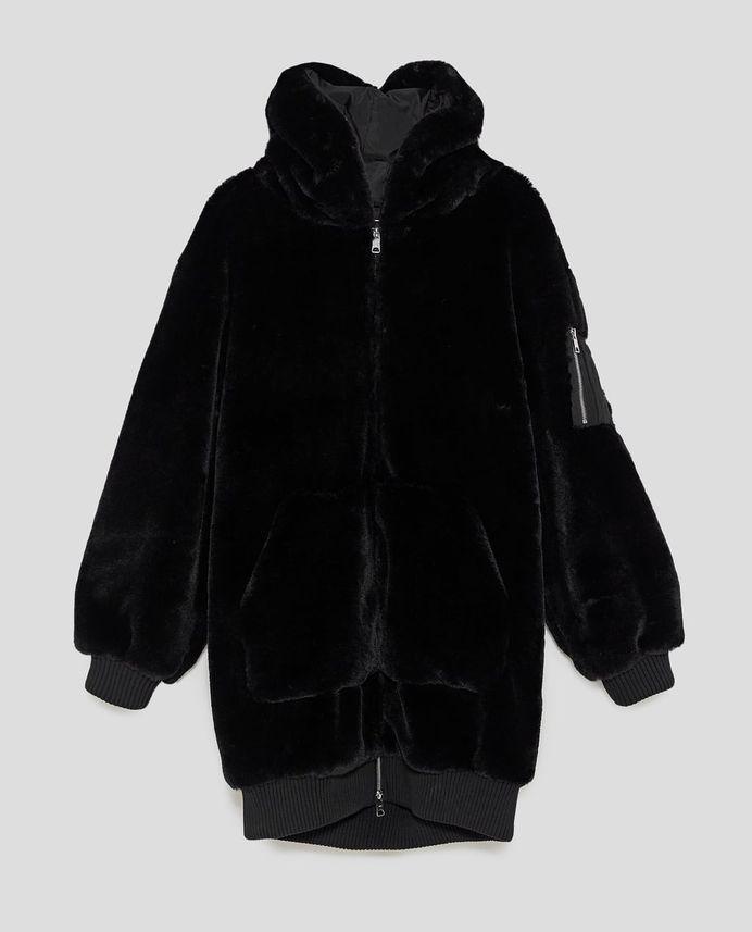 Image 11 of OVERSIZED FAUX FUR COAT from Zara