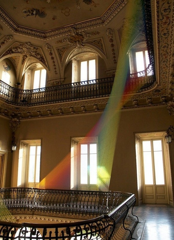 Gabriel Dawe textile art installation in classic old mansion #exhibition #textile #art #installation