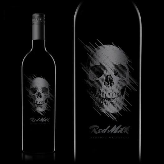 Red Milk : TACN Studio #canada #packaging #vancouver #design #black #wine #skull #grey