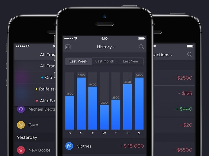 Walle Finance App [Transactions & Week History] by Alexander Zaytsev #charts #financial #iphone #mobile #ios #list #widget