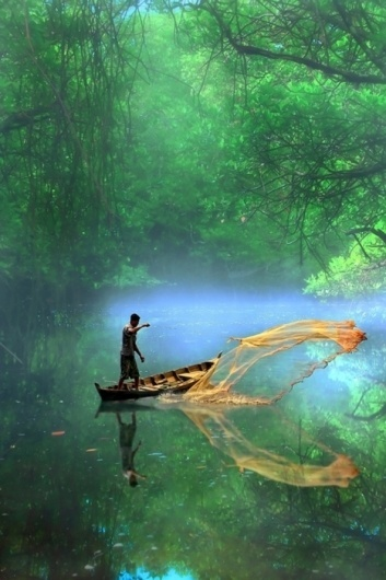 Tumblr #tropical #photography #boat #reflection #fishing #jungle #green