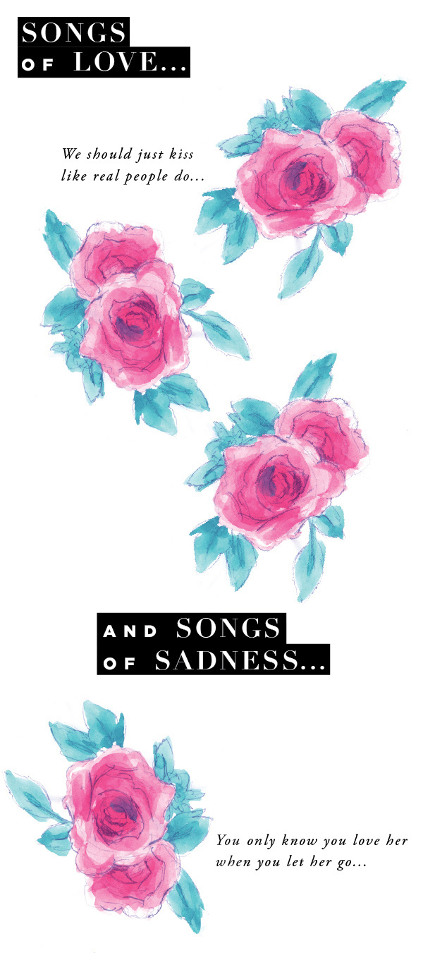 Music and roses #album #flora #painted #floral #roses #quotes #phrase #music #spring #watercolor