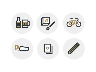 Build Icons #beer #book #saw #paint #bike #brush #pencil #paper