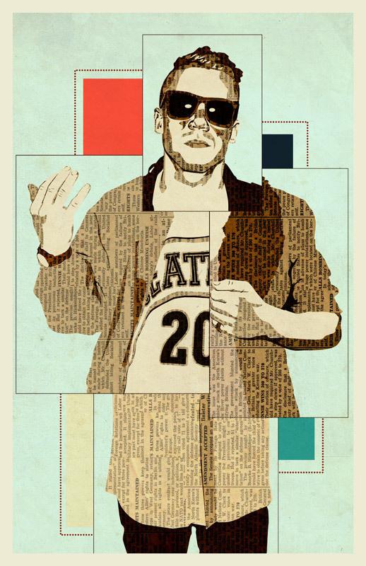 Macklemore | Illustration | KyleMosher.com #cut #macklemore #illustration #portrait #collage #paper