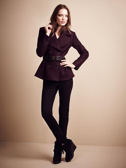 Burberry London London Boiled Wool Back Peplum Coat #fashion #maroon #jacket #burberry