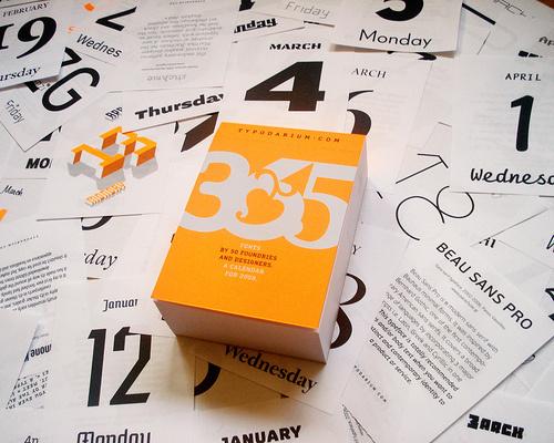 upscale typography » Blog Archive » Typodarium 2009 Typographic tear off Calendar #calendar