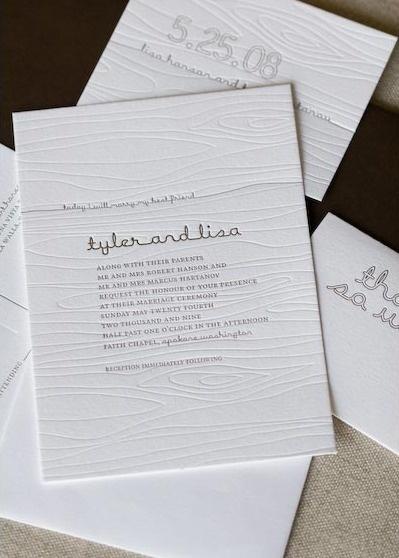 woodgrain-letterpress-invitation-alee-and-press #white #invitation #letterpress #wood #minimalist #wedding