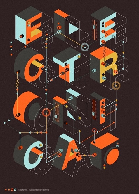 Electronica on Behance #poster #typography #graphic #design #graphic design