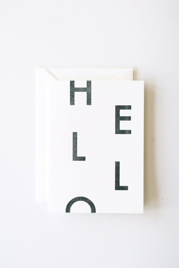 """""""Hello"""" Letterpress printed note card #card #letterpress #typography"""