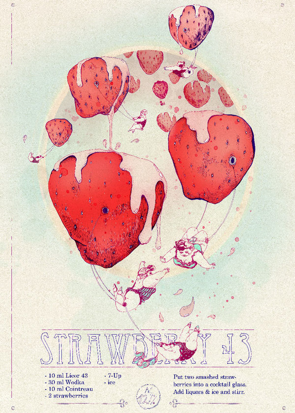 Shaken, not stirred on the Behance Network #acrobats #trapeez #balloons #strawberries