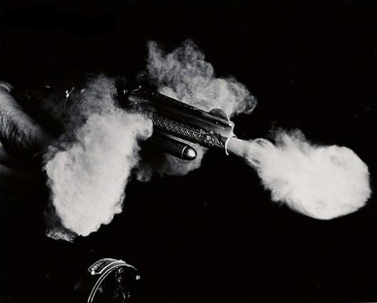Today's Photograph - mashKULTURE #weapon #white #smoke #shooting #pistol #gun #black #and